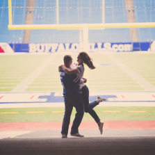 Fun wedding engagement photography taken at Ralph Wilson Bills Stadium.